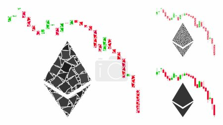 Illustration for Ethereum fall chart mosaic of joggly pieces in variable sizes and shades, based on Ethereum fall chart icon. Vector tuberous pieces are organized into collage. - Royalty Free Image