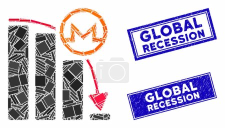 Illustration for Mosaic Monero falling acceleration graph pictogram and rectangle seal stamps. Flat vector Monero falling acceleration graph mosaic pictogram of scattered rotated rectangle items. - Royalty Free Image