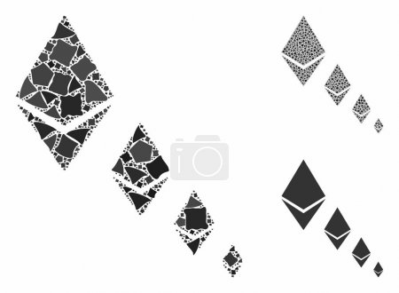 Illustration for Ethereum crystal defaltion mosaic of rough parts in various sizes and color hues, based on Ethereum crystal defaltion icon. Vector trembly parts are grouped into collage. - Royalty Free Image
