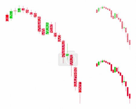 Illustration for Candlestick falling acceleration chart composition of abrupt parts in different sizes and color hues, based on candlestick falling acceleration chart icon. - Royalty Free Image