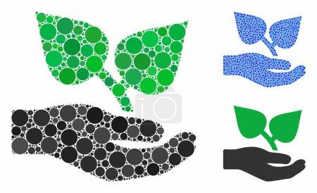 Illustration pour Une mosaïque de points ronds de tailles et de teintes variées, basée sur une icône de soin de la main de la flore. Les points vectoriels sont composés en mosaïque bleue. - image libre de droit