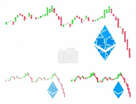Illustration for Ethereum falling chart mosaic of irregular pieces in various sizes and color tones, based on Ethereum falling chart icon. Vector inequal pieces are organized into collage. - Royalty Free Image