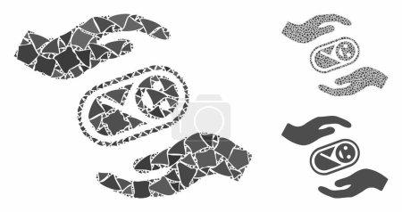 Illustration pour La composition des mains de soins aux nouveau-nés des parties déchiquetées en tailles variables et teintes de couleur, basée sur l'icône des mains de soins aux nouveau-nés. Vector parties abruptes sont organisées en composition. - image libre de droit