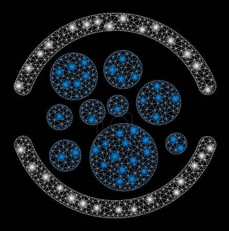 Illustration pour Maille éclatante pleine d'effet paillettes. Modèle illuminé abstrait de l'icône complète. Carcasse de fil brillant réseau polygonal plein. abstraction vectorielle sur fond noir . - image libre de droit