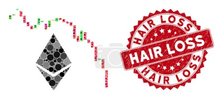 Illustration for Mosaic Ethereum fall chart and rubber stamp seal with Hair Loss phrase. Mosaic vector is designed from Ethereum fall chart icon and with random round elements. Hair Loss stamp seal uses red color, - Royalty Free Image