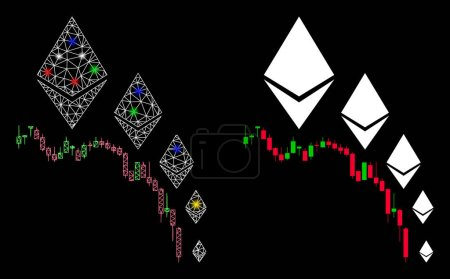 Illustration for Glowing mesh Ethereum deflation chart icon with sparkle effect. Abstract illuminated model of Ethereum deflation chart. Shiny wire carcass polygonal network Ethereum deflation chart icon. - Royalty Free Image