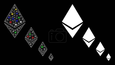 Illustration for Glowing mesh Ethereum crystal defaltion icon with glitter effect. Abstract illuminated model of Ethereum crystal defaltion. Shiny wire carcass polygonal mesh Ethereum crystal defaltion icon. - Royalty Free Image