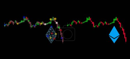 Illustration for Glowing mesh Ethereum falling chart icon with glitter effect. Abstract illuminated model of Ethereum falling chart. Shiny wire carcass triangular mesh Ethereum falling chart icon. - Royalty Free Image