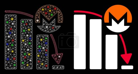 Illustration for Glossy mesh Monero falling acceleration chart icon with glare effect. Abstract illuminated model of Monero falling acceleration chart. - Royalty Free Image