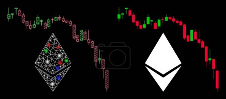 Illustration for Glossy mesh Ethereum fall chart icon with glitter effect. Abstract illuminated model of Ethereum fall chart. Shiny wire frame polygonal network Ethereum fall chart icon. - Royalty Free Image