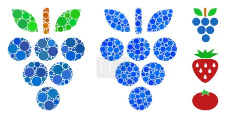 Grapes mosaic of round dots in different sizes and...