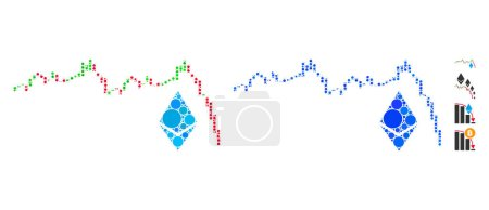 Illustration for Ethereum falling chart composition of round dots in various sizes and color tints, based on Ethereum falling chart icon. Vector round elements are organized into blue collage. - Royalty Free Image