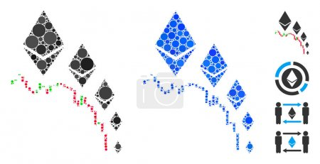 Illustration for Ethereum deflation chart mosaic of spheric dots in various sizes and color tints, based on Ethereum deflation chart icon. Vector round dots are organized into blue mosaic. - Royalty Free Image