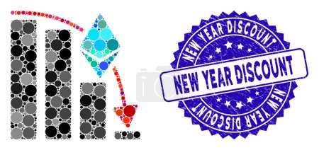 Illustration for Collage Ethereum falling acceleration chart icon and grunge stamp seal with New Year Discount phrase. - Royalty Free Image