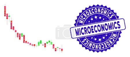 Illustration for Mosaic candlestick chart falling slowdown icon and rubber stamp watermark with Microeconomics phrase. - Royalty Free Image