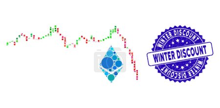 Illustration for Mosaic Ethereum falling chart icon and grunge stamp seal with Winter Discount text. Mosaic vector is formed with Ethereum falling chart icon and with random circle elements. - Royalty Free Image