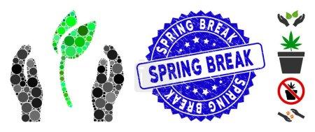 Illustration pour Icône Mosaïque de soins des mains de germe et sceau de timbre déchiré avec la phrase Spring Break. Le vecteur mosaïque est conçu avec une icône de soins des mains et des éléments aléatoires ronds. Le phoque de la relâche printanière utilise le bleu, - image libre de droit