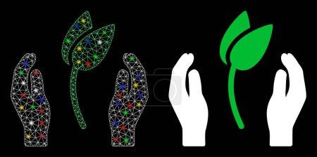 Illustration pour Icône de soins pour les mains en mailles éclaircies avec effet scintillant. Abstract illuminated model of sprout care hands. Réseau triangulaire de carcasses en fil de fer brillant icône du soin des pousses. - image libre de droit