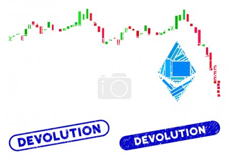 Illustration for Mosaic Ethereum falling chart and distressed stamp seals with Devolution caption. Mosaic vector Ethereum falling chart is designed with scattered rectangle items. Devolution seals use blue color, - Royalty Free Image