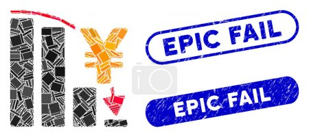 Illustration for Mosaic yen epic fail chart and rubber stamp watermarks with Epic Fail phrase. Mosaic vector yen epic fail chart is composed with randomized rectangle items. Epic Fail stamp seals use blue color, - Royalty Free Image