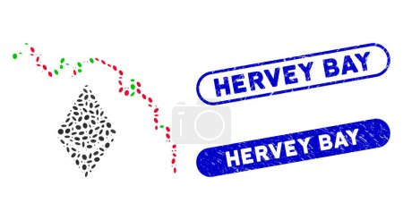 Illustration for Mosaic Ethereum fall chart and rubber stamp watermarks with Hervey Bay caption. Mosaic vector Ethereum fall chart is composed with random elliptic dots. Hervey Bay stamp seals use blue color, - Royalty Free Image
