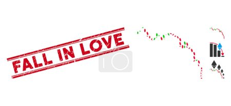 Illustration for Corroded red stamp seal with Fall in Love phrase between double parallel lines, and collage candlestick chart down icon. - Royalty Free Image