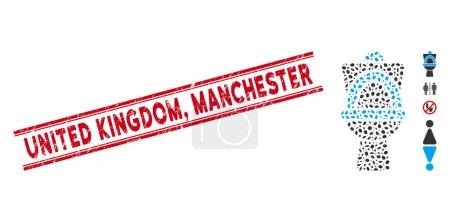 Seenot Großbritannien, Manchester-Briefmarke und Mosaik-Toilettenpfanne-Ikone