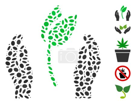 Illustration pour Dotted Mosaic based on sprout care hands. Mosaic vector sprout care hands is formed with randomized oval elements. Bonus icons are added. - image libre de droit