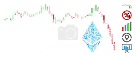 Illustration for Line collage Ethereum falling chart icon united from narrow elements in variable sizes and color hues. Vector linear items are united into abstract collage Ethereum falling chart icon. - Royalty Free Image