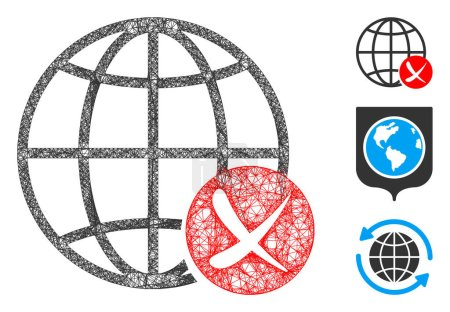 Illustration pour Mesh stop global web polygonal web symbole vectoriel illustration. Le modèle de carcasse est basé sur l'icône plate du web global stop. Triangle mesh forms abstrait stop global web carcasse plate . - image libre de droit
