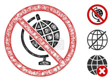 Illustration pour Mesh no globe model polygonal web 2d vector illustration. Modèle de carcasse est basé sur aucun modèle de globe icône plate. Maille triangle formes abstraites aucun modèle de globe modèle plat . - image libre de droit