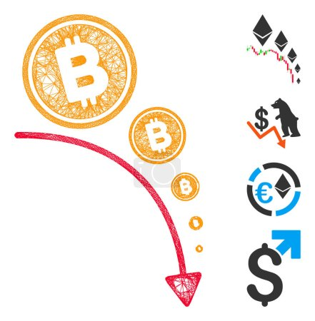 Illustration for Mesh Bitcoin deflation trend web icon vector illustration. Abstraction is based on Bitcoin deflation trend flat icon. Mesh forms abstract Bitcoin deflation trend flat carcass. - Royalty Free Image