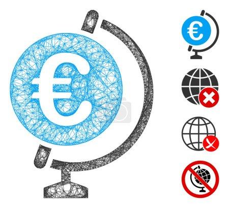 Illustration pour Mesh Euro globe web icône vectorielle illustration. Le modèle est basé sur l'icône plate Euro globe. Mesh forme modèle plat abstrait Euro globe. Cadre de fil réseau 2D isolé sur un fond blanc . - image libre de droit