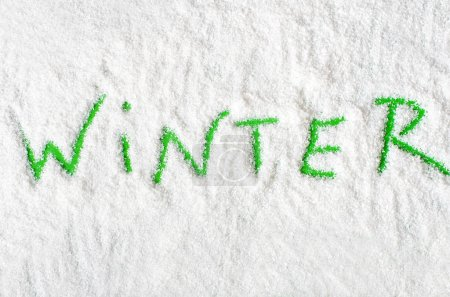 Christmas words on snow