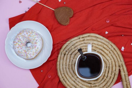 Photo for Beautiful juicy donuts with coffee in plates on a decorative tray. February valentine's day greeting card. background for kitchen design - Royalty Free Image