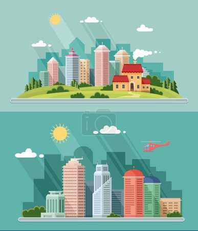 Illustration for Landscape - summer cityscape illustration . city design, a metropolis street and trees background. Flat style vector illustration. - Royalty Free Image