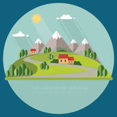 Beautiful rural landscape with houses and mountain views The village road to the garden field Spring Summer Autumn Flat design style vector illustration
