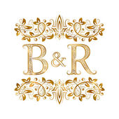B&R vintage initials logo symbol Letters B R ampersand surrounded floral ornament Wedding or business partners initials monogram in royal style
