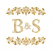 B&S vintage initials logo symbol Letters B S ampersand surrounded floral ornament Wedding or business partners initials monogram in royal style