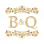B&Q vintage initials logo symbol Letters B Q ampersand surrounded floral ornament Wedding or business partners initials monogram in royal style