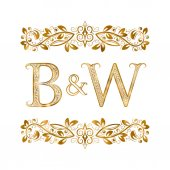 B&W vintage initials logo symbol Letters B W ampersand surrounded floral ornament Wedding or business partners initials monogram in royal style