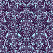 Damask seamless pattern repeating background Purple blue floral ornament in baroque style Antique repeatable wallpaper