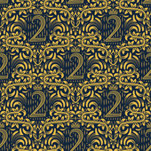 Damask seamless pattern repeating background Golden blue floral ornament number two and crown in baroque style Antique golden repeatable wallpaper