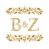 B&Z vintage initials logo symbol Letters B Z ampersand surrounded floral ornament Wedding or business partners initials monogram in royal style