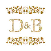 D and B vintage initials logo symbol The letters are surrounded by ornamental elements Wedding or business partners monogram in royal style