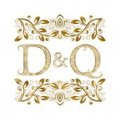 D and Q vintage initials logo symbol The letters are surrounded by ornamental elements
