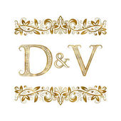 D and V vintage initials logo symbol The letters are surrounded by ornamental elements