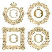 Sada zlaté písmeno O vinobraní monogramy. Rodové erby, kulaté a čtvercové rámce