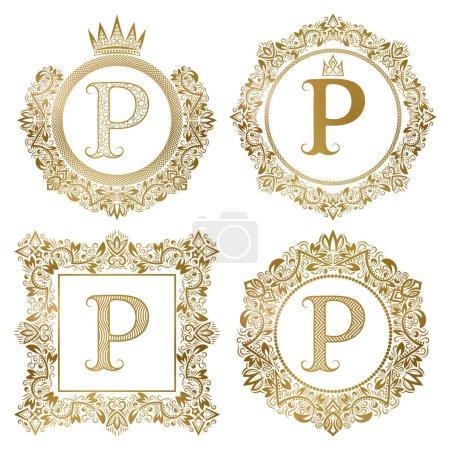Illustration pour Monogrammes vintage lettre dorée P ensemble. Armoiries héraldiques, cadres ronds et carrés . - image libre de droit