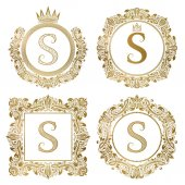 Golden letter S vintage monograms set. Heraldic coats of arms, round and square frames.